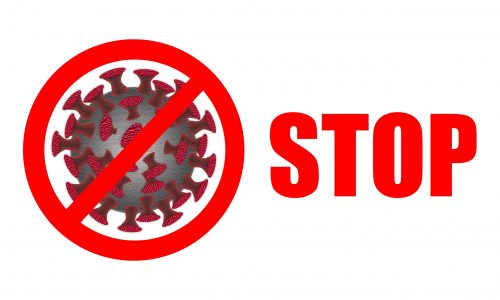 Coronavirus. Stop Coronavirus, stop sign and text on white background. Coronaviruses influenza background as dangerous flu strain cases as a pandemic medical health risk concept with disease cells as 2D illustration